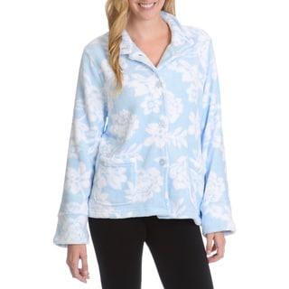 La Cera Women's Florarl Print Plush Lounge Jacket