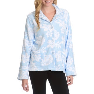 La Cera Women's Florarl Print Plush Lounge Jacket