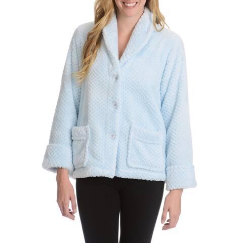 La Cera Women's Textured Plush Button Front Lounge Jacket