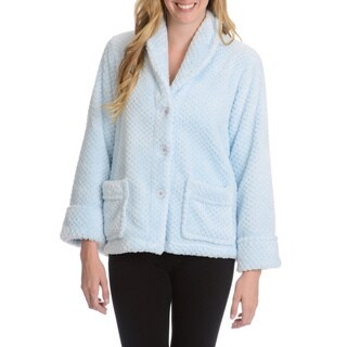 La Cera Women's Textured Plush Button Front Lounge Jacket