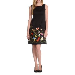La Cera Women's Floral Embroidered Front Sheath Dress