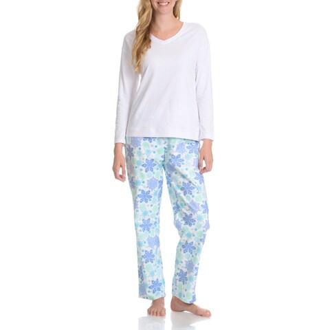 La Cera Women's Snowflake Pant Pajama Set