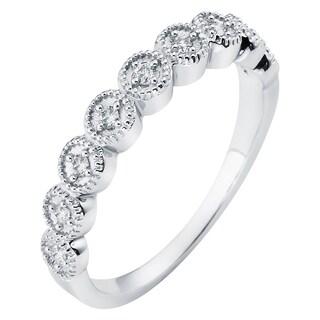 Boston Bay Diamonds 14k White Gold 1/8ct TDW Diamond Stackable Vintage Miligrain Band Ring