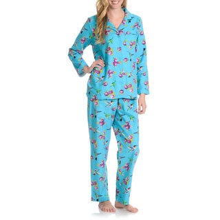 La Cera Women's Hummingbird 2-Piece Pajama Set