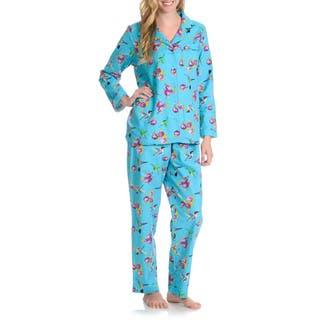 La Cera Women's Hummingbird 2-Piece Pajama Set (Option: M)|https://ak1.ostkcdn.com/images/products/10423697/P17522652.jpg?impolicy=medium
