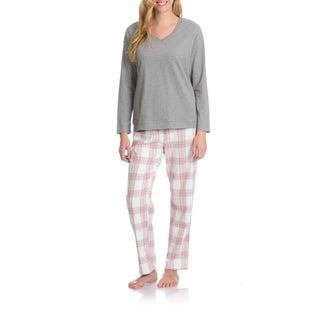 La Cera Women's Plaid Pant Pajama Set (3 options available)