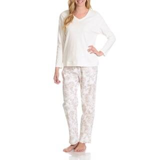 La Cera Women's Antique Floral Print Pant Pajama Set