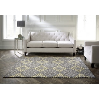 Spaces by Welspun Traditional Floral Grey And Yellow Yellow Area Rug (5' x 7')