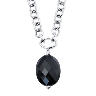 18k Rose Gold and Sterling Silver Black Onyx Pendant