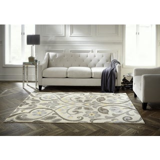 Spaces by Welspun Traditional Floral Scroll Patterned Natural Area Rug (2' x 5')