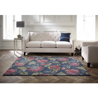 Spaces by Welspun Transitional Floral Jewel-toned Flowers Blue Area Rug (2' x 5')