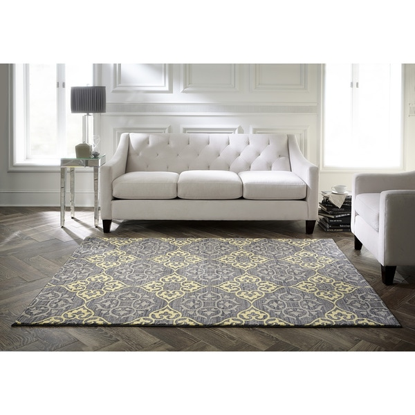 Spaces by Welspun Traditional Floral Grey And Yellow Yellow Area Rug (2' x 5')
