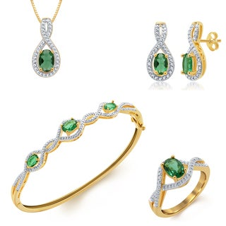 Divina 14k Yellow Gold over Brass Emerald and Diamond Accent 4-piece Jewelry Set (I-J, I2-I3)