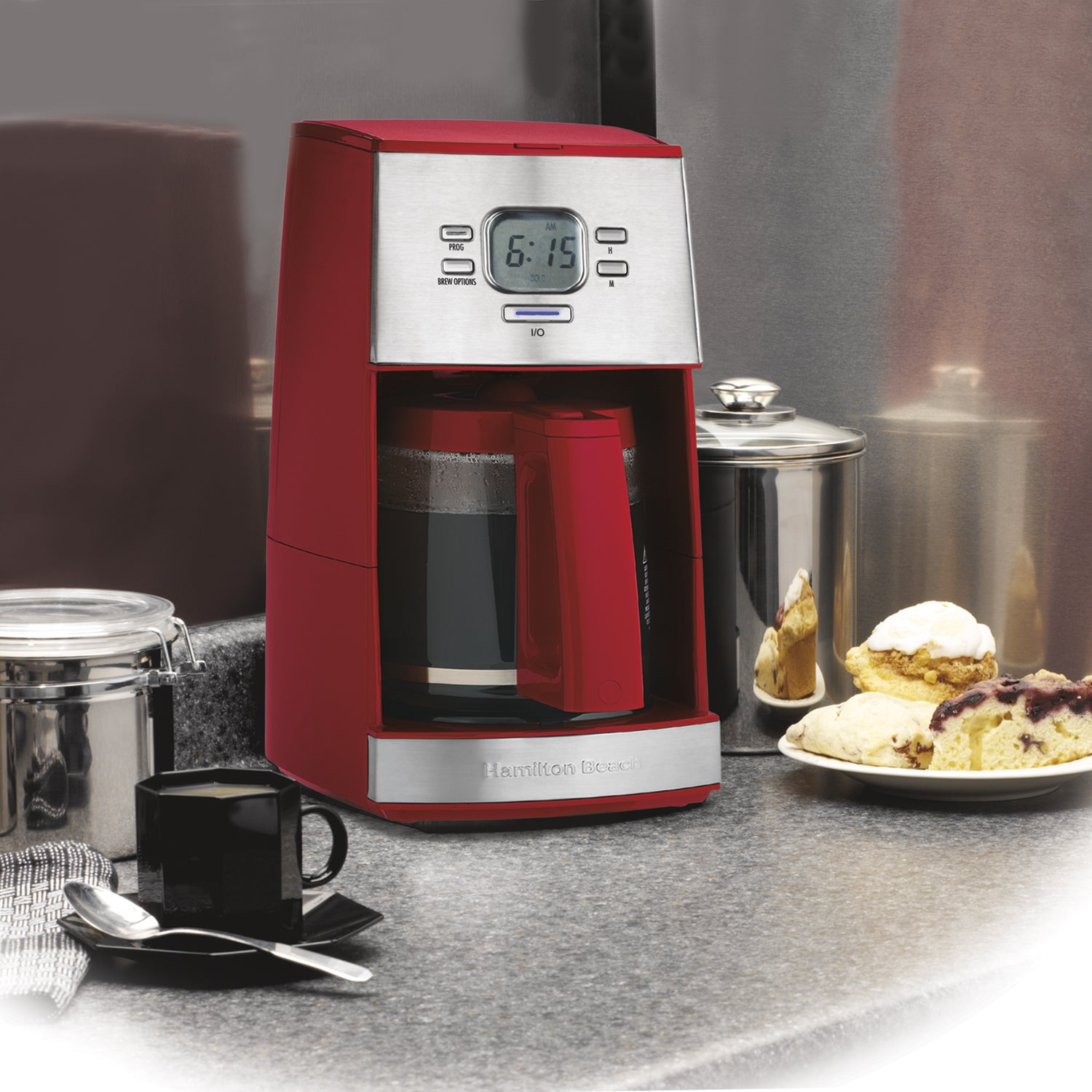Hamilton Beach Red Ensemble Programmable 12 Cup Coffee Ma...