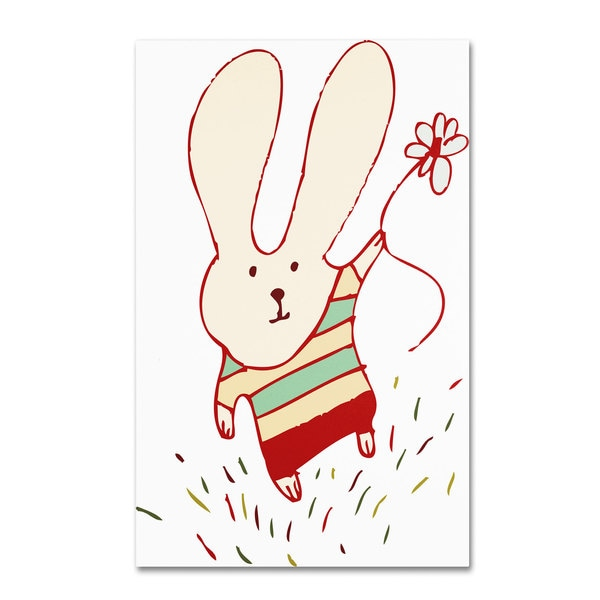 Carla Martell 'Flower Bunny' Canvas Art - Multi