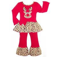 Ann Loren Girls' Leopard Reindeer Christmas Holiday Outfit