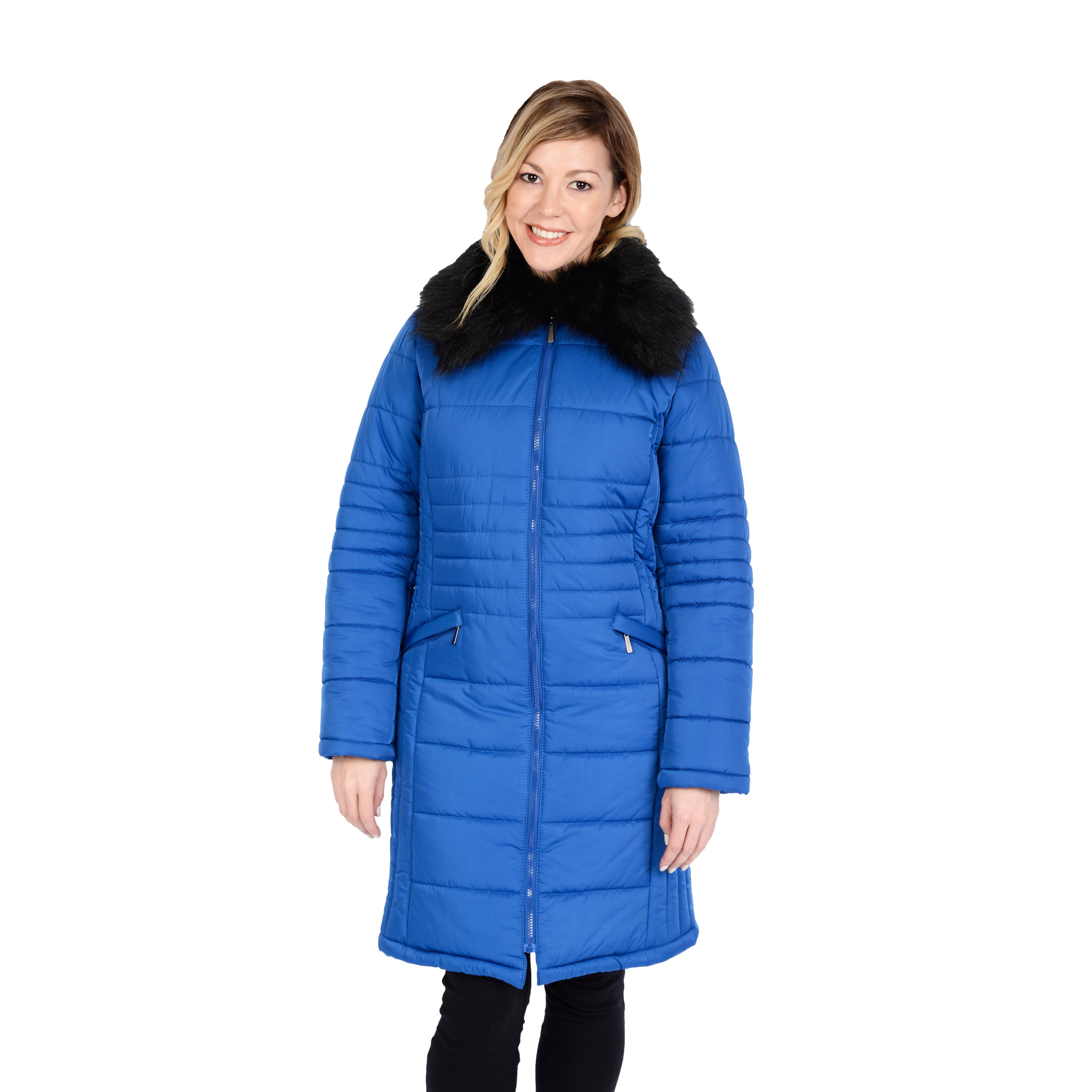 Excelled Women's Quilted 3/4 Puffer with Faux Fur Collar ...