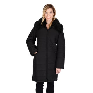 Excelled Women's Quilted 3/4 Puffer with Faux Fur Collar