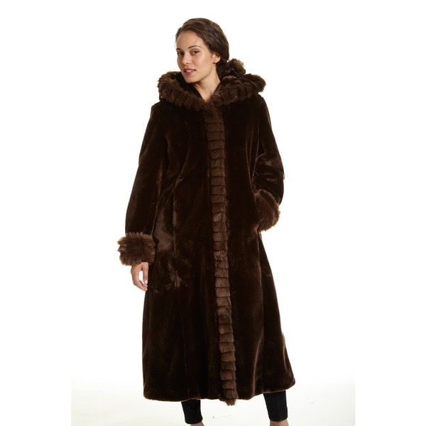 Excelled Women's Faux Fur Hooded Full Length Coat