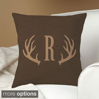 Antlers Personalized Dark Brown Throw Pillow
