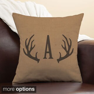 Antlers Personalized Camel Throw Pillow