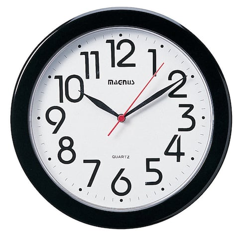 Dainolite 10-inch Round Black Wall Clock
