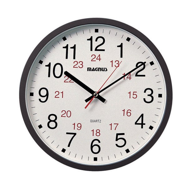 Dainolite 12/24 Hour Black Clock with Sweep Style Second Hand