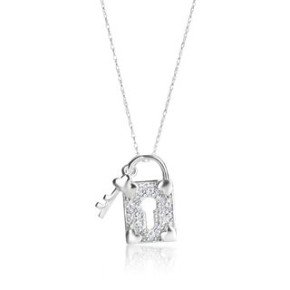 SummerRose 14k White Gold 1/4ct TDW Diamond Locket and Key Necklace (H-I, SI1-SI2)