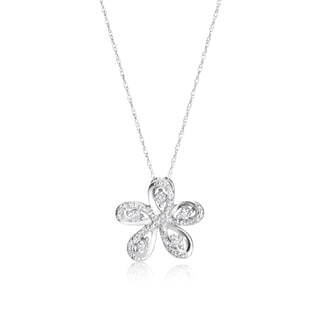 SummerRose 14k White Gold 1/3ct TDW Diamond Flower Necklace (H-I, SI1-SI2)