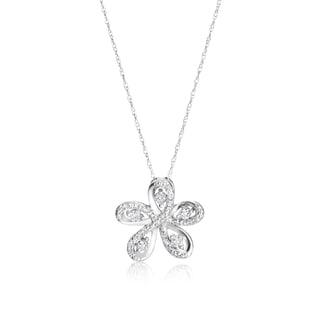SummerRose 14k White Gold 1/3ct TDW Diamond Flower Necklace