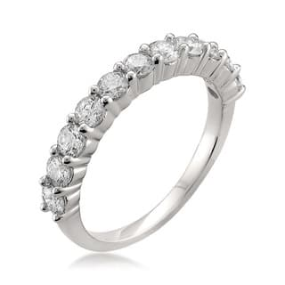 montebello platinum 1ct tdw round cut prong set diamond wedding band - Platinum Wedding Ring Sets