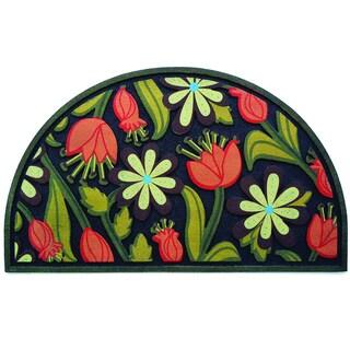 """Outdoor Floral Half Round Doormat (18"""" x 30"""")"""