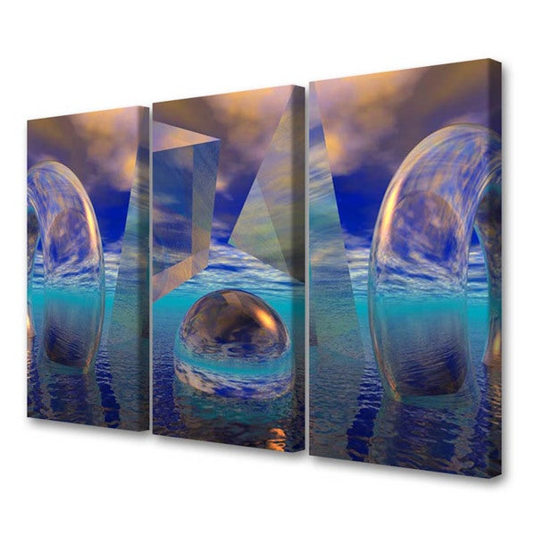 Menaul Fine Art Scott J. Menaul 'Aqua Triptych' Limited Edition Multi-panel Canvas Art