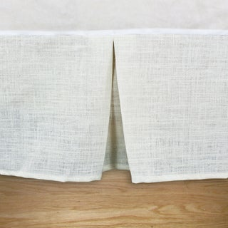Burlap Off-White 14-inch Drop Pleated Queen-size Bedskirt