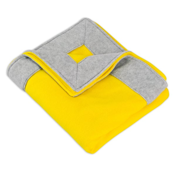 Fleece Yellow Simply Soft Throw With 3 Inch Mitered Light Grey Edge