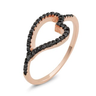 Rose Goldplated Sterling Silver Black Cubic Zirconia Sideways Heart Ring