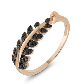 Rose Goldplated Sterling Silver Black Cubic Zirconia Fern Ring
