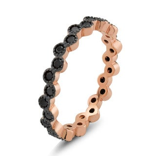 Rose Goldplated Sterling Silver Black Cubic Zirconia Bezeled Eternity Ring