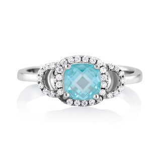 Sterling Silver Aqua Cubic Zirconia March Cushion-cut Birthstone Ring
