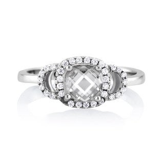Sterling Silver Clear Cubic Zirconia April Cushion-cut Birthstone Ring
