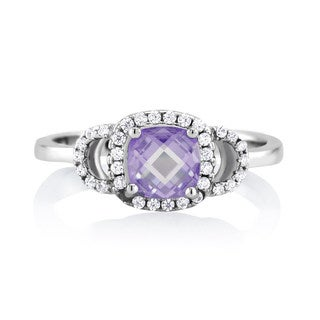 Sterling Silver Alexandrite-colored Cubic Zirconia June Cushion-cut Birthstone Ring