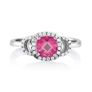 Sterling Silver Ruby-colored Cubic Zirconia July Cushion-cut Birthstone Ring