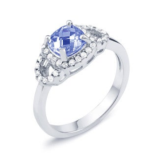 Sterling Silver Sapphire-colored Cubic Zirconia September Cushion-cut Birthstone Ring