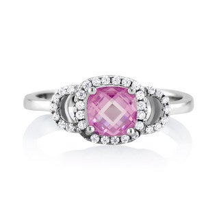 Sterling Silver Pink Tourmaline Cubic Zirconia October Cushion-cut Birthstone Ring