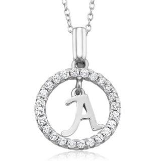 Rhodium-plated Sterling Silver Cubic Zirconia Open Circle Initial Necklace|https://ak1.ostkcdn.com/images/products/10425459/P17524192.jpg?impolicy=medium