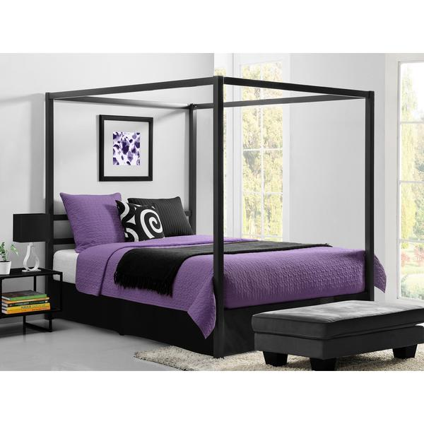 dhp modern grey queen canopy bed free shipping today