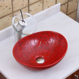 Elite 1557+F22T Oval Red Rose Porcelain Ceramic Bathroom Vessel Sink  Waterfall Faucet Combo