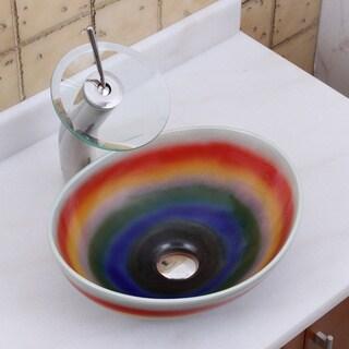 Elite 1556+F22T Oval Multicolor Glaze Porcelain Ceramic Bathroom Vessel Sink Waterfall Faucet Combo