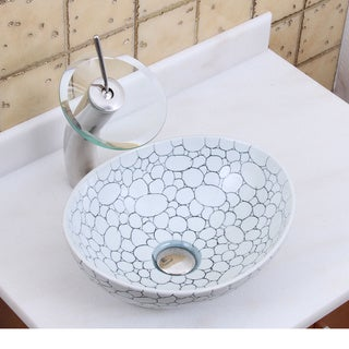 Elite 1558+F22T Oval Cobblestone Pattern Porcelain Ceramic Bathroom Vessel Sink Waterfall Faucet Combo