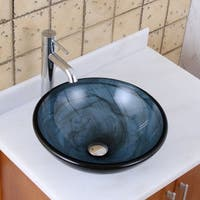 Elite 48N+F371023 Blue Swirl Pattern with Double-layer Tempered Glass Bathroom Vessel Sink with Faucet Combo